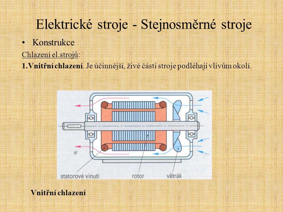 Elektrické stroje - Stejnosměrné stroje Konstrukce Chlazení el.strojů: 1.Vnitřní chlazení. Je účinnější, živé části stroje podléhají vlivům okolí. Vni