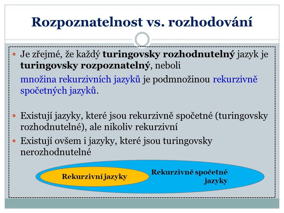 Rozpoznatelnost vs. rozhodování Je zřejmé, že každý turingovsky rozhodnutelný jazyk je turingovsky rozpoznatelný, neboli množina rekurzivních jazyků j