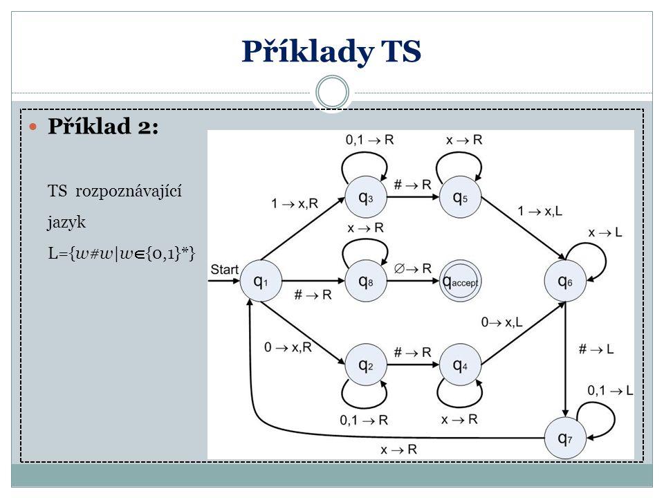 Příklady TS Příklad 2: TS rozpoznávající jazyk L={w#w|w  {0,1}*}