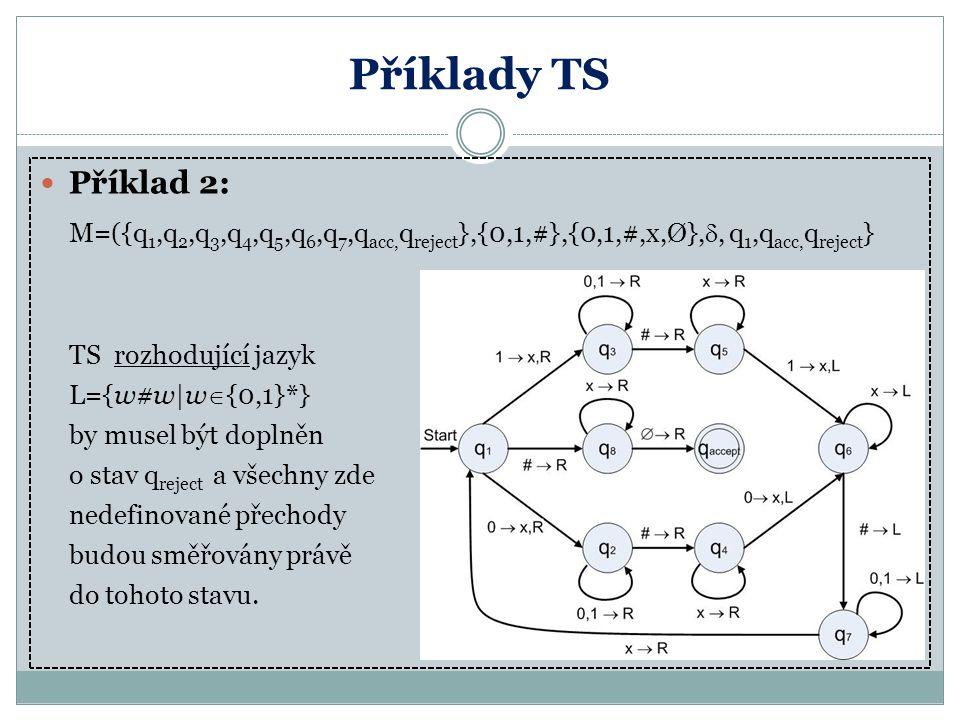 Příklady TS Příklad 2: M=({q 1,q 2,q 3,q 4,q 5,q 6,q 7,q acc, q reject },{0,1,#},{0,1,#,x,Ø}, , q 1,q acc, q reject } TS rozhodující jazyk L={w#w|w 