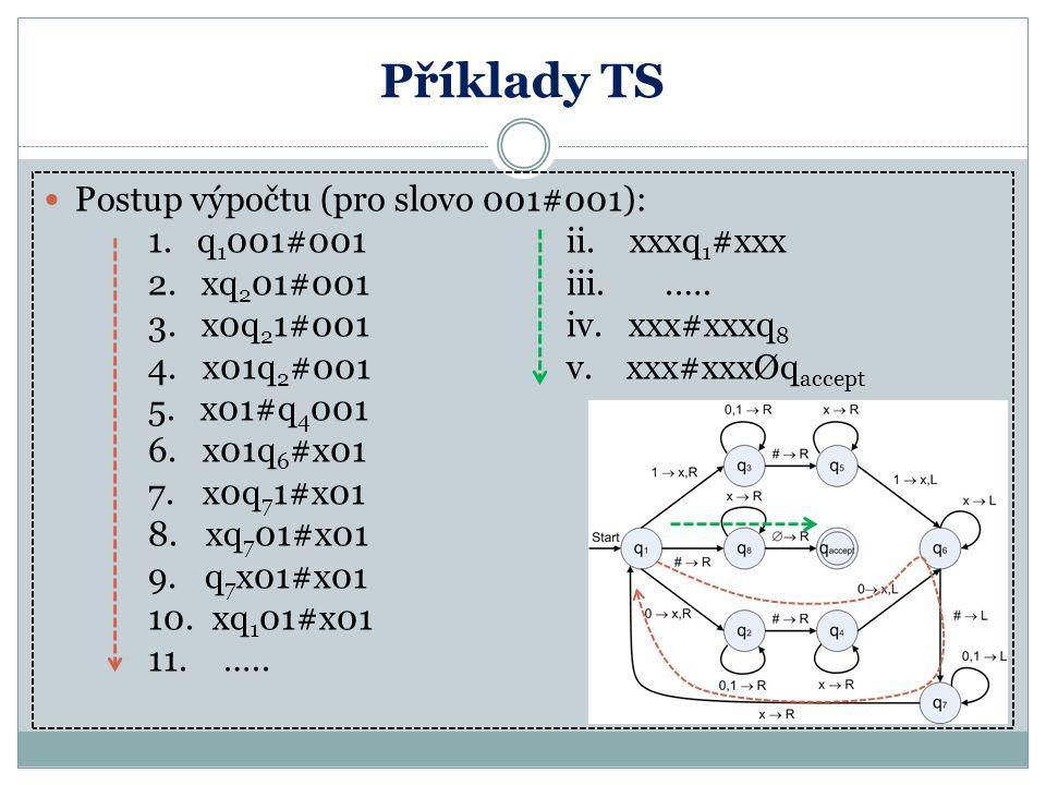 Příklady TS Postup výpočtu (pro slovo 001#001): 1. q 1 001#001ii. xxxq 1 #xxx 2. xq 2 01#001iii..…. 3. x0q 2 1#001 iv. xxx#xxxq 8 4. x01q 2 #001 v. xx