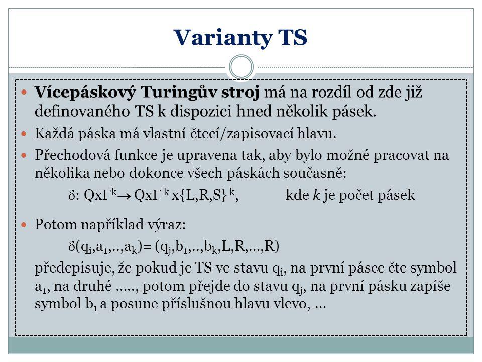 Varianty TS Vícepáskový Turingův stroj má na rozdíl od zde již definovaného TS k dispozici hned několik pásek. Každá páska má vlastní čtecí/zapisovací