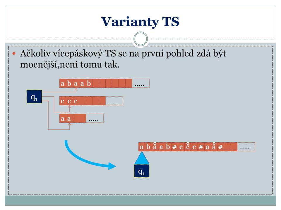 Varianty TS Ačkoliv vícepáskový TS se na první pohled zdá být mocnější,není tomu tak. q1q1  abaab  q1q1 ..… ccc  aa  abaab#ccc#aa#  