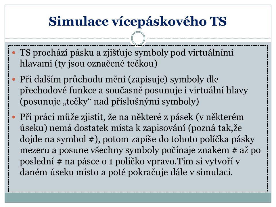Simulace vícepáskového TS TS prochází pásku a zjišťuje symboly pod virtuálními hlavami (ty jsou označené tečkou) Při dalším průchodu mění (zapisuje) s