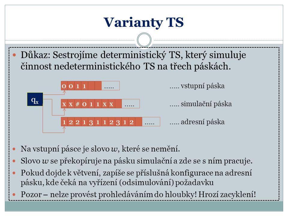 Varianty TS Důkaz: Sestrojíme deterministický TS, který simuluje činnost nedeterministického TS na třech páskách. Na vstupní pásce je slovo w, které s