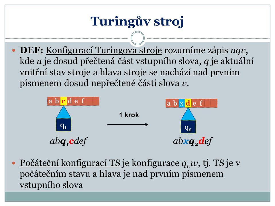 Turingův stroj DEF: Konfigurací Turingova stroje rozumíme zápis uqv, kde u je dosud přečtená část vstupního slova, q je aktuální vnitřní stav stroje a
