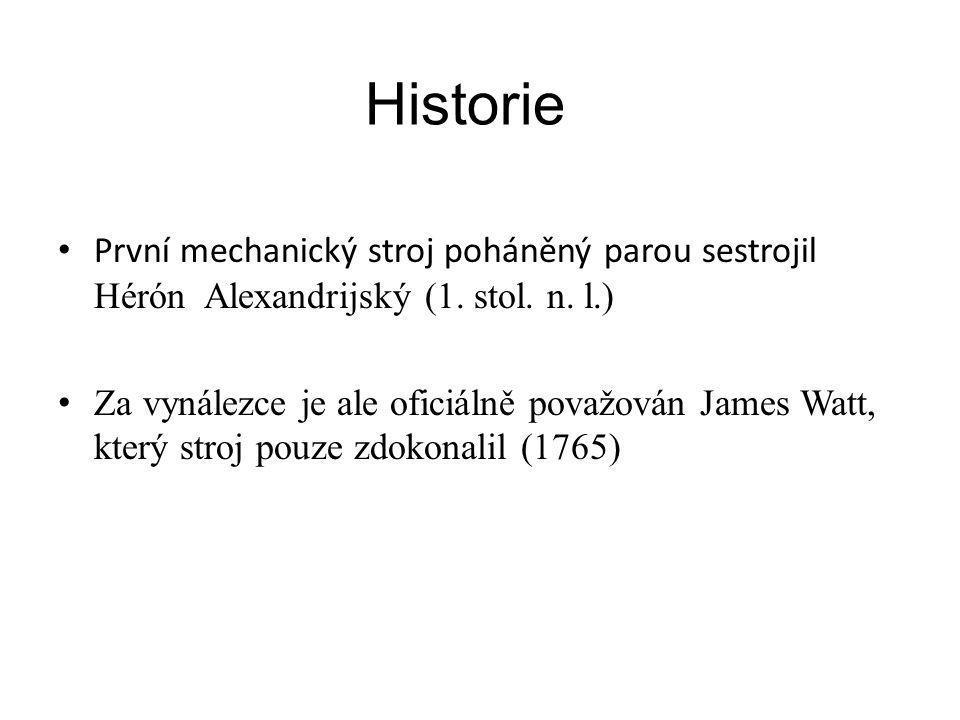 Historie První mechanický stroj poháněný parou sestrojil Hérón Alexandrijský (1. stol. n. l.) Za vynálezce je ale oficiálně považován James Watt, kter