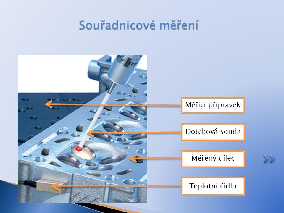 Souřadnicové měření Měřicí přípravek Doteková sonda Měřený dílec Teplotní čidlo
