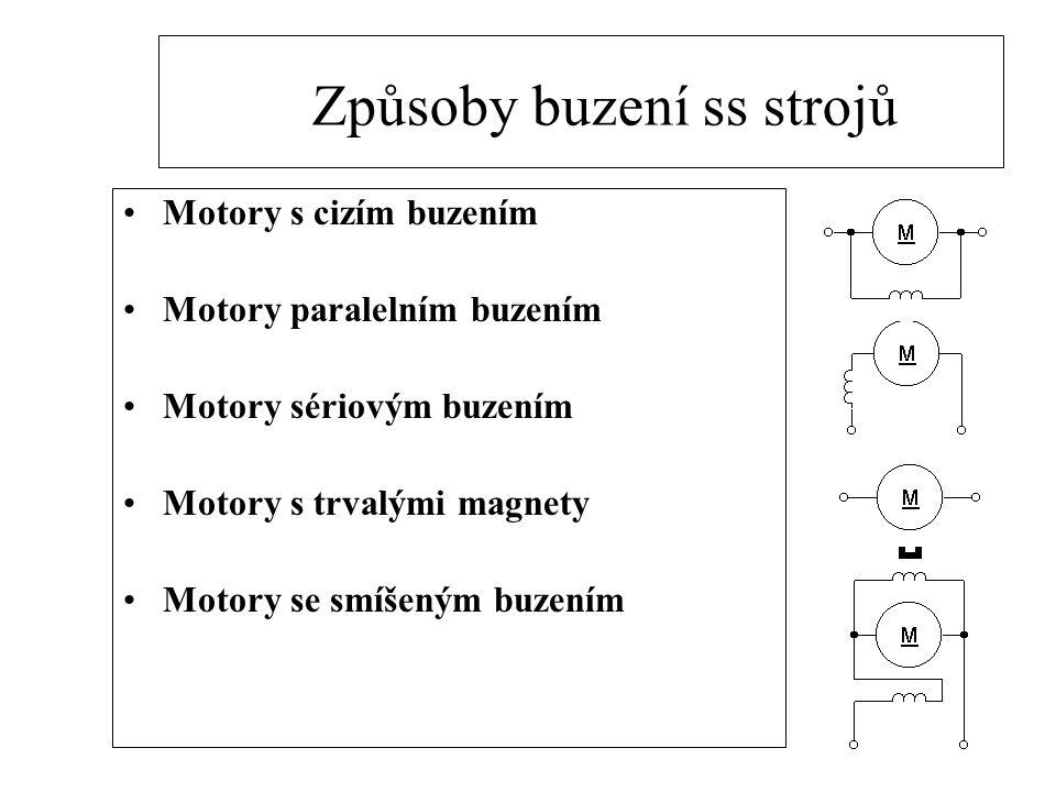 Způsoby buzení ss strojů Motory s cizím buzením Motory paralelním buzením Motory sériovým buzením Motory s trvalými magnety Motory se smíšeným buzením