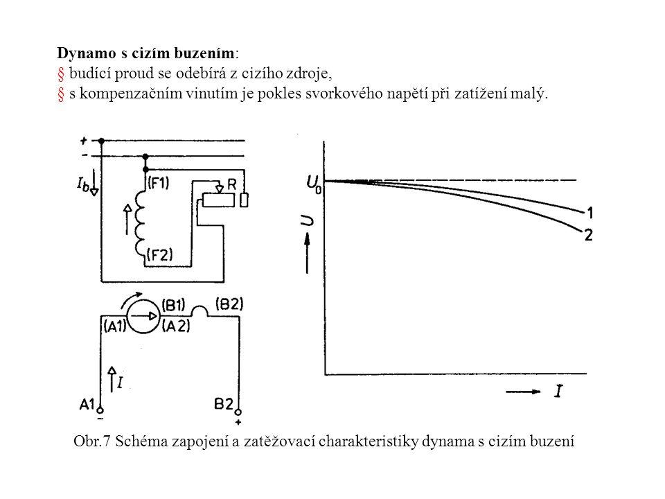 Dynamo s cizím buzením: § budící proud se odebírá z cizího zdroje, § s kompenzačním vinutím je pokles svorkového napětí při zatížení malý.