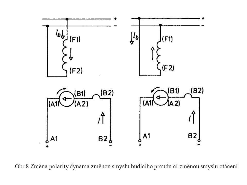 Dynamo s vlastním buzením - paralelním: § budící vinutí je připojeno na svorky kotvy, § budícím vinutím prochází velmi malý proud oproti proudu kotvy, § aby se dynamo nabudilo, musí být v pólech remanentní magnetismus, § polaritu můžeme provést stejně jako u dynama s cizím buzením Obr.9 Schéma zapojení a zatěžovací charakteristiky dynama s paralelním buzení