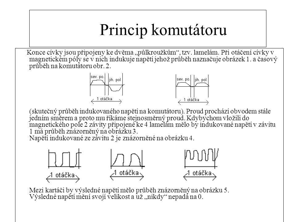 """Princip komutátoru Konce cívky jsou připojeny ke dvěma """"půlkroužkům , tzv."""