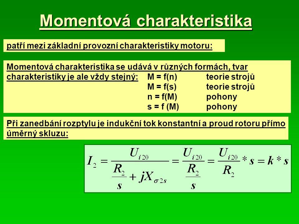 Momentová charakteristika patří mezi základní provozní charakteristiky motoru: Momentová charakteristika se udává v různých formách, tvar charakteristiky je ale vždy stejný:M = f(n) teorie strojů M = f(s)teorie strojů n = f(M)pohony s = f (M)pohony Při zanedbání rozptylu je indukční tok konstantní a proud rotoru přímo úměrný skluzu: