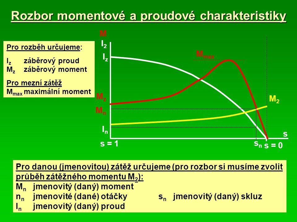 Rozbor momentové a proudové charakteristiky Pro danou (jmenovitou) zátěž určujeme (pro rozbor si musíme zvolit průběh zátěžného momentu M 2 ): M n jme