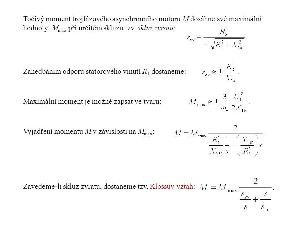 Točivý moment trojfázového asynchronního motoru M dosáhne své maximální hodnoty M max při určitém skluzu tzv. skluz zvratu: Zanedbáním odporu statorov