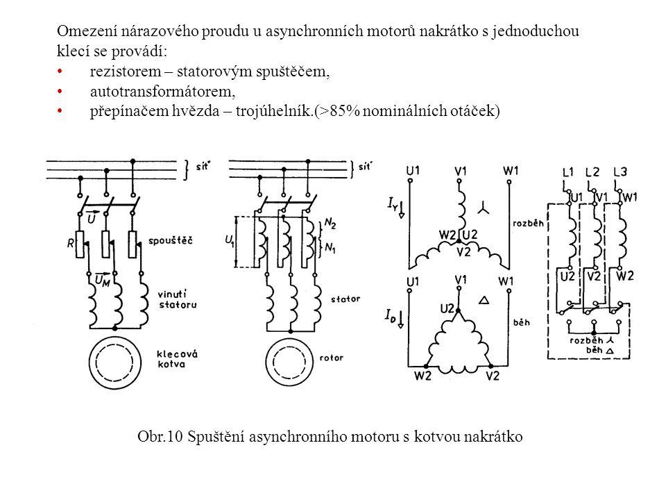 Omezení nárazového proudu u asynchronních motorů nakrátko s jednoduchou klecí se provádí: rezistorem – statorovým spuštěčem, autotransformátorem, přep