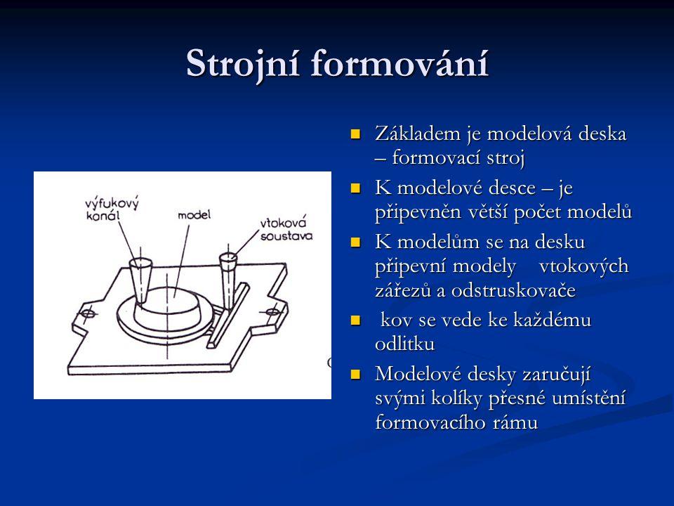 Střásací stroj Formovací stroje – forma se zdvíhá kolíky Formovací stroje – forma se zdvíhá kolíky Po zapěchování se forma uvolní od modelové desky Po zapěchování se forma uvolní od modelové desky Mechanicky nebo hydraulicky Mechanicky nebo hydraulicky