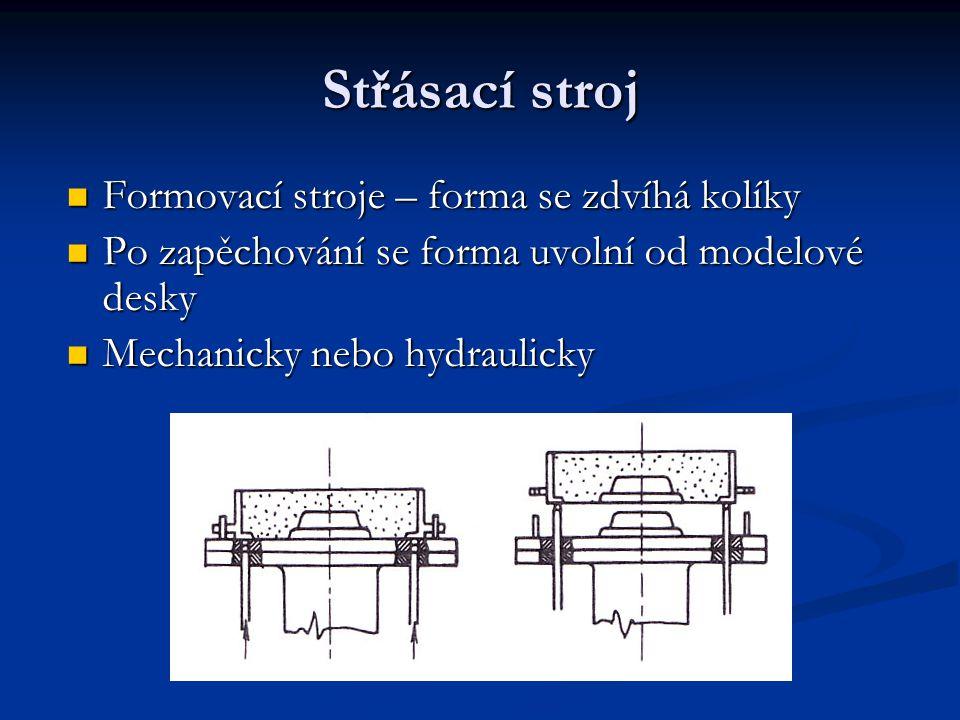 Střásací stroj Formovací stroje – forma se zdvíhá kolíky Formovací stroje – forma se zdvíhá kolíky Po zapěchování se forma uvolní od modelové desky Po