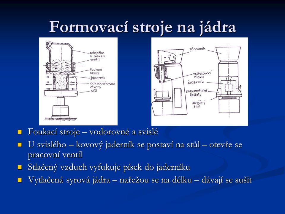 Formovací stroje na jádra Foukací stroje – vodorovné a svislé Foukací stroje – vodorovné a svislé U svislého – kovový jaderník se postaví na stůl – ot