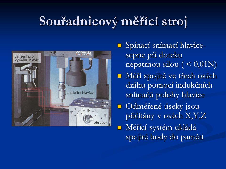 Souřadnicový měřící stroj Spínací snímací hlavice- sepne při doteku nepatrnou silou ( < 0,01N) Spínací snímací hlavice- sepne při doteku nepatrnou sil