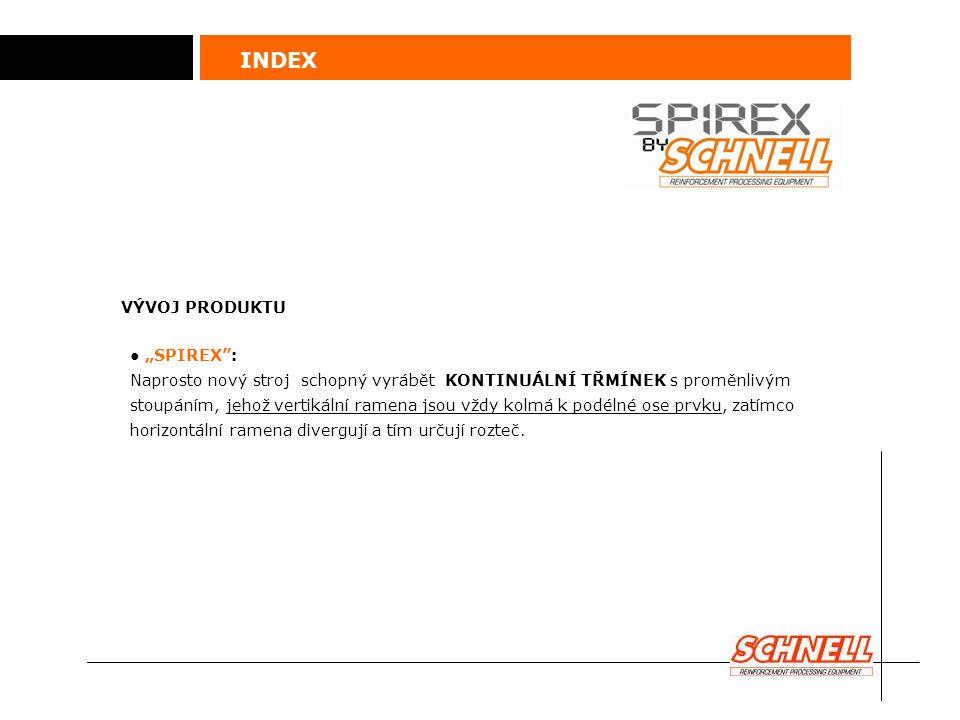 """INDEX ● """"SPIREX"""": Naprosto nový stroj schopný vyrábět KONTINUÁLNÍ TŘMÍNEK s proměnlivým stoupáním, jehož vertikální ramena jsou vždy kolmá k podélné o"""