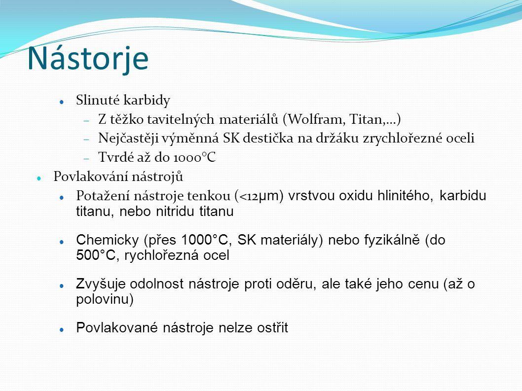 Nástorje Slinuté karbidy  Z těžko tavitelných materiálů (Wolfram, Titan,…)  Nejčastěji výměnná SK destička na držáku zrychlořezné oceli  Tvrdé až do 1000°C Povlakování nástrojů Potažení nástroje tenkou (<12 μm) vrstvou oxidu hlinitého, karbidu titanu, nebo nitridu titanu Chemicky (přes 1000°C, SK materiály) nebo fyzikálně (do 500°C, rychlořezná ocel Zvyšuje odolnost nástroje proti oděru, ale také jeho cenu (až o polovinu) Povlakované nástroje nelze ostřit