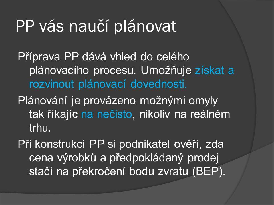 PP vás naučí plánovat Příprava PP dává vhled do celého plánovacího procesu. Umožňuje získat a rozvinout plánovací dovednosti. Plánování je provázeno m
