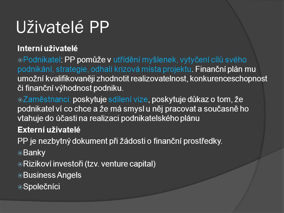 Uživatelé PP Interní uživatelé  Podnikatel: PP pomůže v utřídění myšlenek, vytyčení cílů svého podnikání, strategie, odhalí krizová místa projektu. F