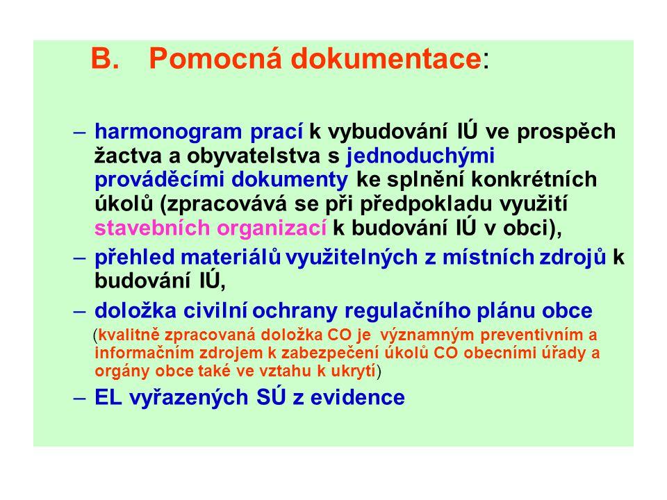 B. Pomocná dokumentace: –harmonogram prací k vybudování IÚ ve prospěch žactva a obyvatelstva s jednoduchými prováděcími dokumenty ke splnění konkrétní