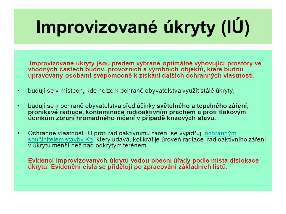 Věcné prostředky Materiální vybavení krytového družstva: protichemický oděv …….