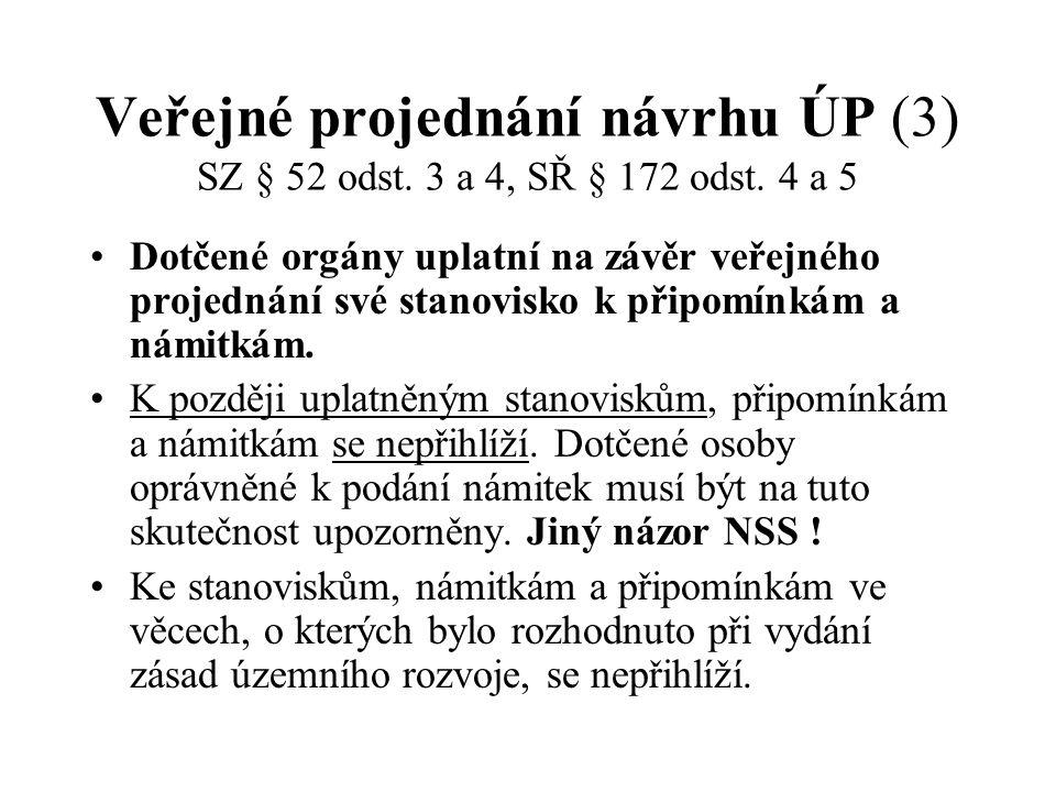 Veřejné projednání návrhu ÚP (3) SZ § 52 odst.3 a 4, SŘ § 172 odst.