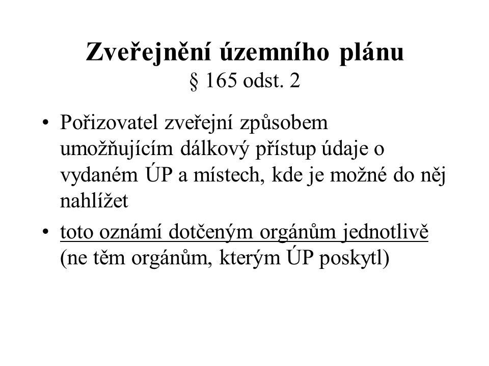 Zveřejnění územního plánu § 165 odst.