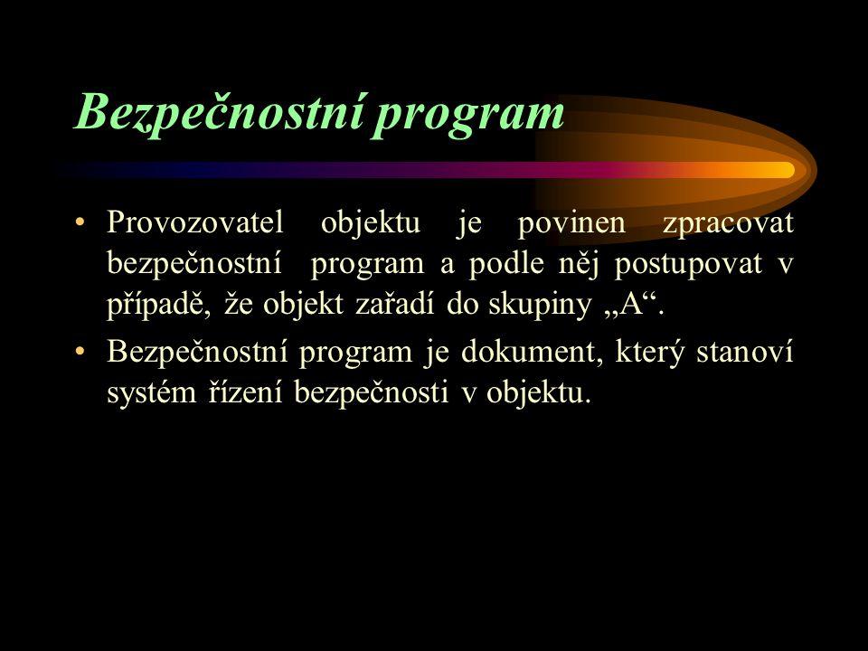 Co objekty zpracovávají Objekty zařazené do skupiny A - bezpečnostní program Objekty zařazené do skupiny B - bezpečnostní zprávu včetně bezpečnostního programu - vnitřní havarijní plán -podklady: a) pro stanovení zóny havarijního plánování b) pro vypracování vnějšího havarijního plánu