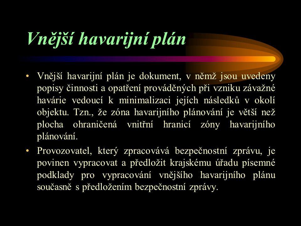 Vnitřní havarijní plán Provozovatel, který zpracovává bezpečnostní zprávu, je povinen zpracovat vnitřní havarijní plán. Vnitřní havarijní plán stanoví