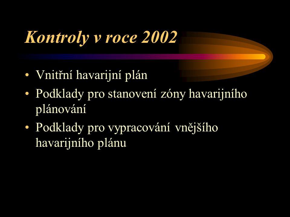 """Spolupráce na stanovení zóny havarijního plánování Zóna havarijního plánování se stanovuje pro organizace zařazené do skupiny """"B"""" V roce 2002 zóny sta"""