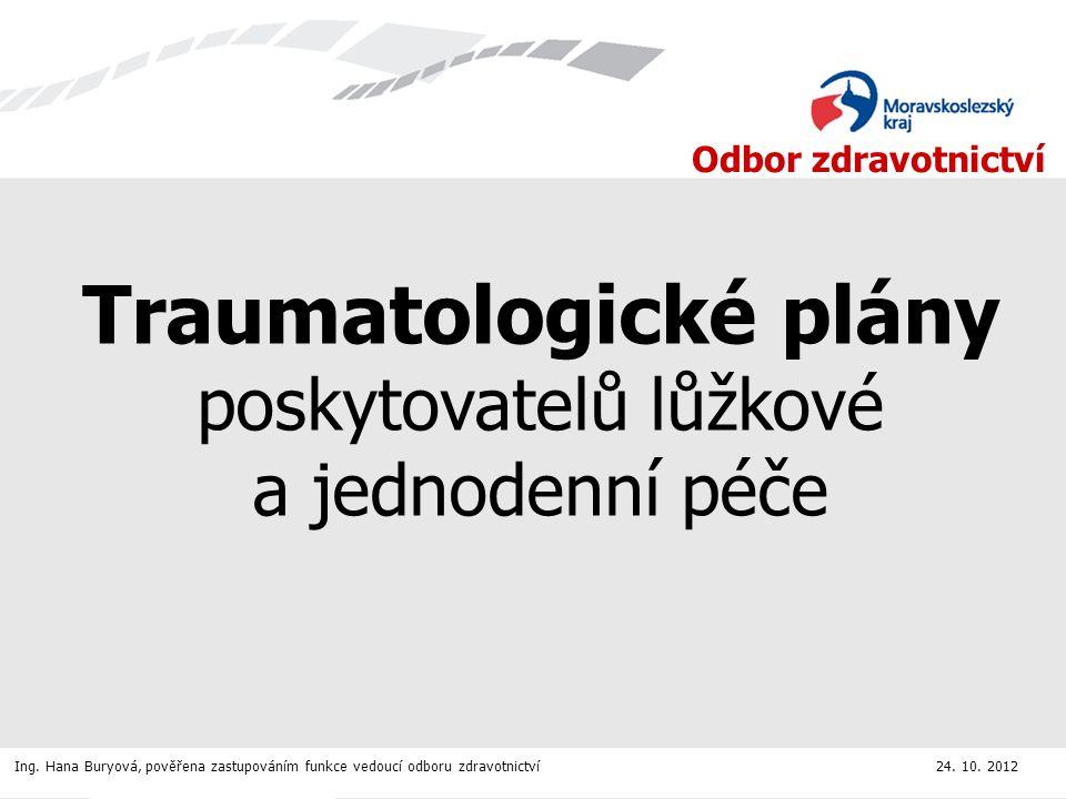 Odbor zdravotnictví Traumatologické plány poskytovatelů lůžkové a jednodenní péče Ing.