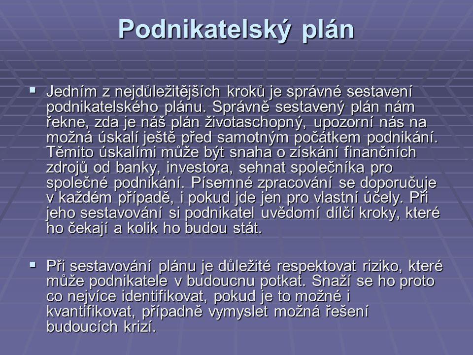 Podnikatelský plán  Jedním z nejdůležitějších kroků je správné sestavení podnikatelského plánu. Správně sestavený plán nám řekne, zda je náš plán živ