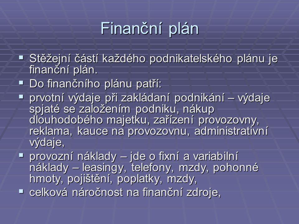 Finanční plán  Stěžejní částí každého podnikatelského plánu je finanční plán.  Do finančního plánu patří:  prvotní výdaje při zakládaní podnikání –