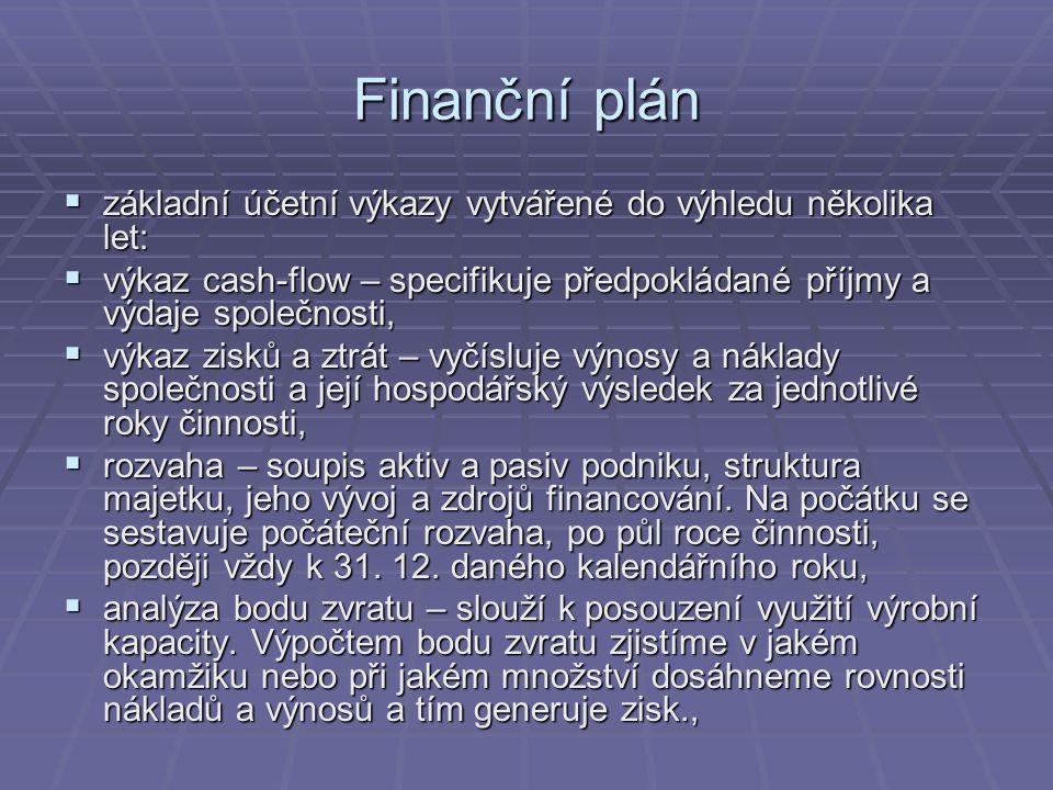 Finanční plán  základní účetní výkazy vytvářené do výhledu několika let:  výkaz cash-flow – specifikuje předpokládané příjmy a výdaje společnosti, 