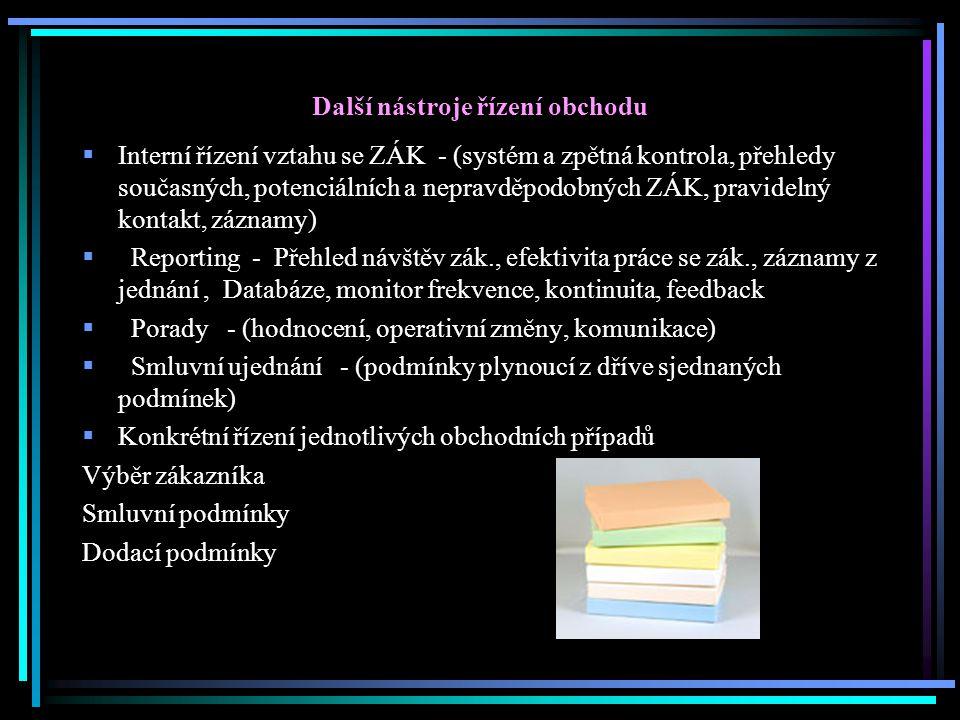Další nástroje řízení obchodu  Interní řízení vztahu se ZÁK - (systém a zpětná kontrola, přehledy současných, potenciálních a nepravděpodobných ZÁK,