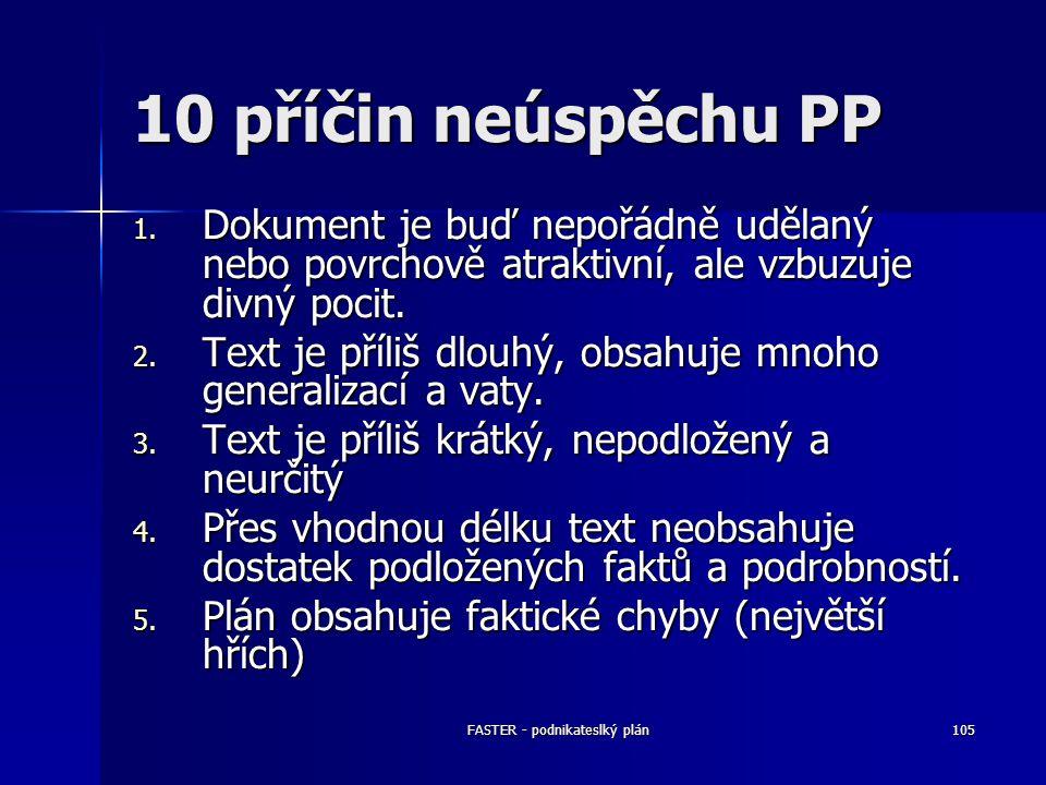 FASTER - podnikateslký plán105 10 příčin neúspěchu PP 1. Dokument je buď nepořádně udělaný nebo povrchově atraktivní, ale vzbuzuje divný pocit. 2. Tex