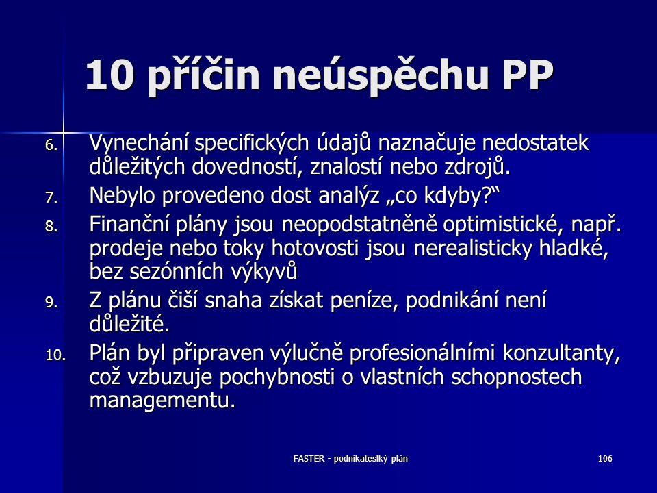 FASTER - podnikateslký plán106 10 příčin neúspěchu PP 6. Vynechání specifických údajů naznačuje nedostatek důležitých dovedností, znalostí nebo zdrojů