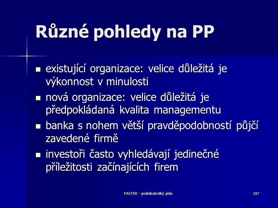 FASTER - podnikateslký plán107 Různé pohledy na PP existující organizace: velice důležitá je výkonnost v minulosti existující organizace: velice důlež