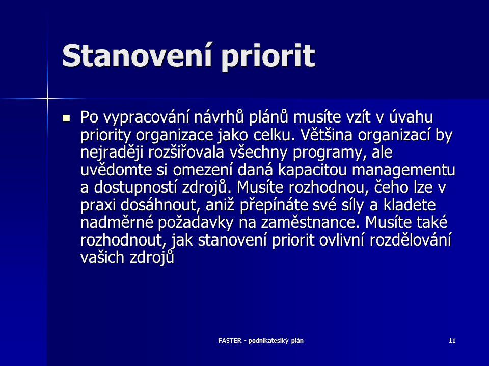 FASTER - podnikateslký plán11 Stanovení priorit Po vypracování návrhů plánů musíte vzít v úvahu priority organizace jako celku. Většina organizací by