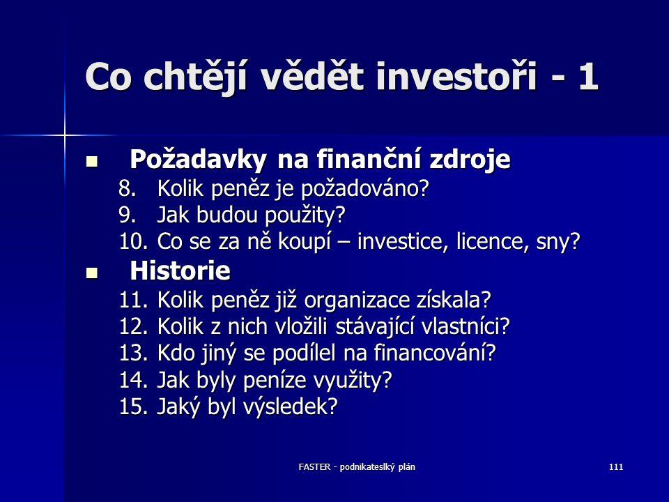FASTER - podnikateslký plán111 Co chtějí vědět investoři - 1 Požadavky na finanční zdroje Požadavky na finanční zdroje 8.Kolik peněz je požadováno? 9.