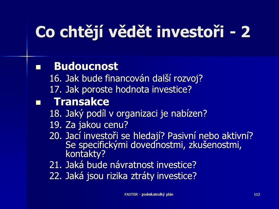 FASTER - podnikateslký plán112 Co chtějí vědět investoři - 2 Budoucnost Budoucnost 16.Jak bude financován další rozvoj? 17.Jak poroste hodnota investi