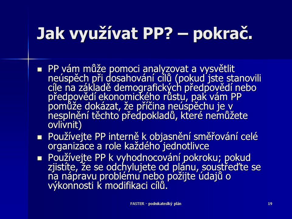 FASTER - podnikateslký plán19 Jak využívat PP? – pokrač. PP vám může pomoci analyzovat a vysvětlit neúspěch při dosahování cílů (pokud jste stanovili