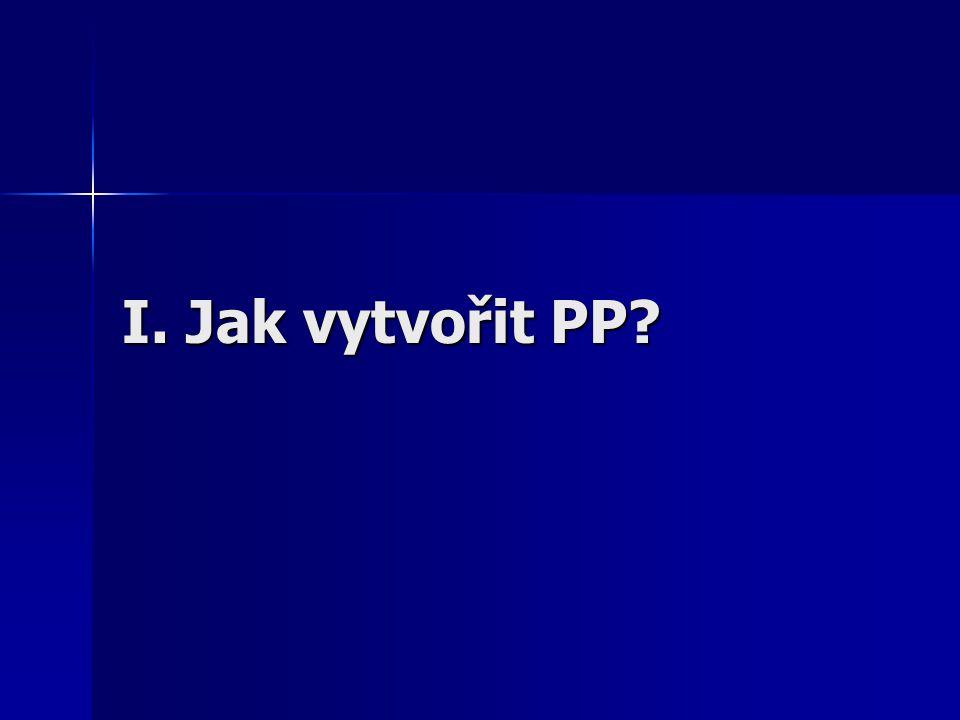 I. Jak vytvořit PP?