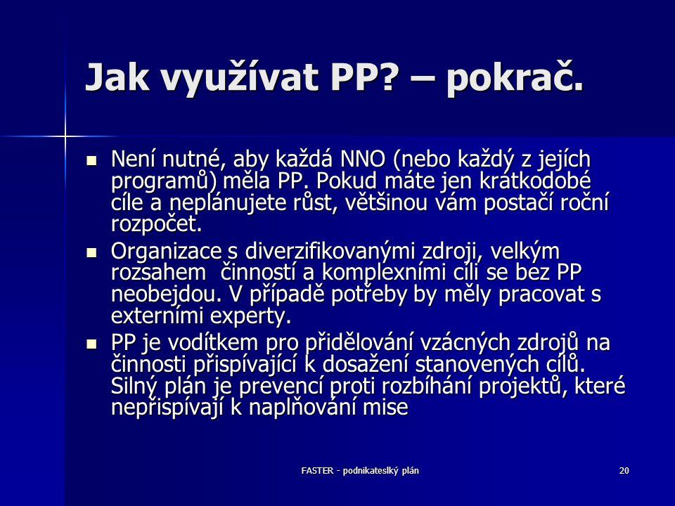 FASTER - podnikateslký plán20 Jak využívat PP? – pokrač. Není nutné, aby každá NNO (nebo každý z jejích programů) měla PP. Pokud máte jen krátkodobé c