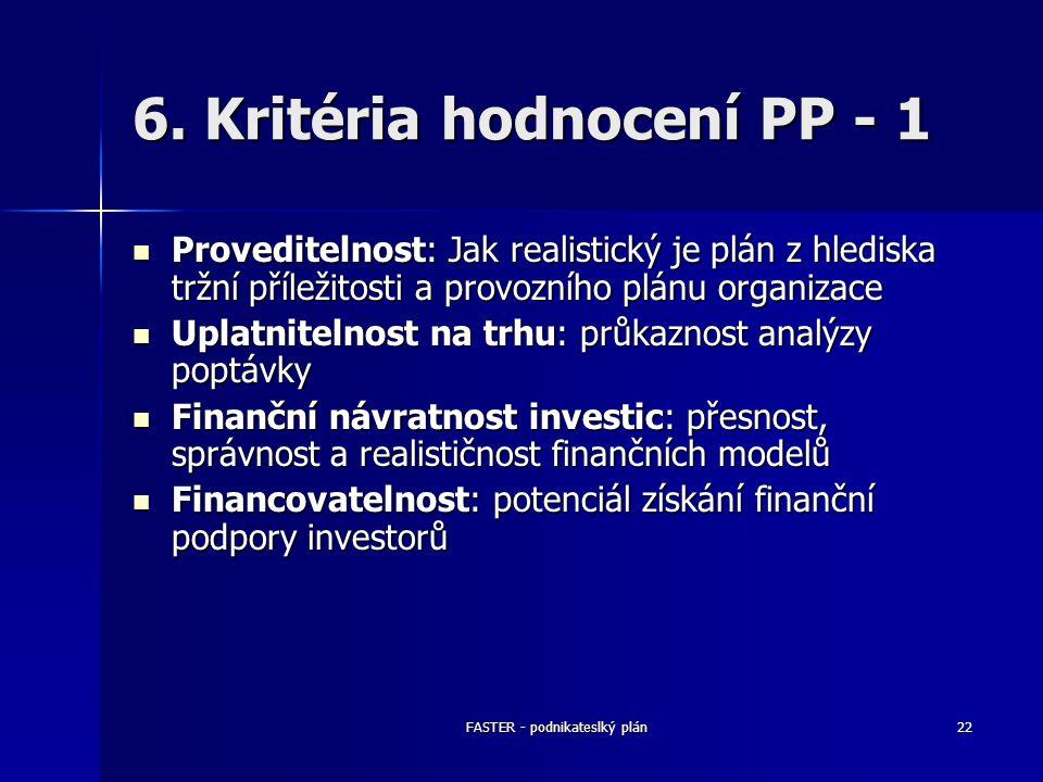 FASTER - podnikateslký plán22 6. Kritéria hodnocení PP - 1 Proveditelnost: Jak realistický je plán z hlediska tržní příležitosti a provozního plánu or